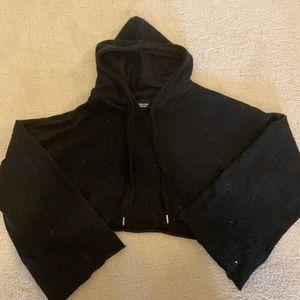 Bell sleeve crop hoodie